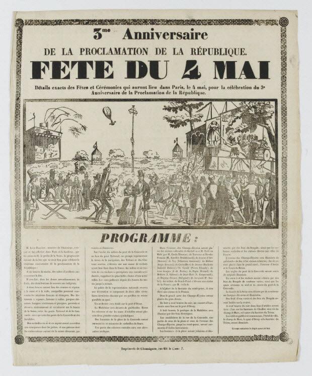 estampe - 3me Anniversaire DE LA PROCLAMATION DE LA REPUBLIQUE.