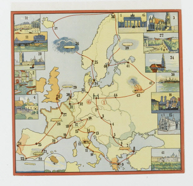 jeu de société - Voyage en ballon dirigeable à travers l'Europe
