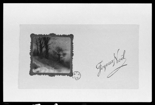 """photographie - """"Joyeux Noël"""". Carte de vœux illustré avec un paysage d'hiver . Reproduction industrielle couleur"""