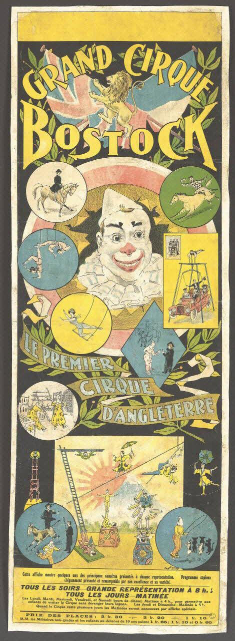 affiche - GRAND CIRQUE BOSTOCK LE PREMIER CIRQUE D'ANGLETERRE