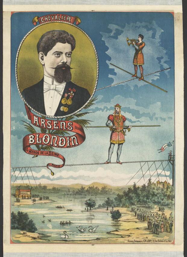 affiche - CHEVALIER ARSÈNS (ALVARÈZ) BLONDIN le HÉROS DE LA SEINE. PARIS.