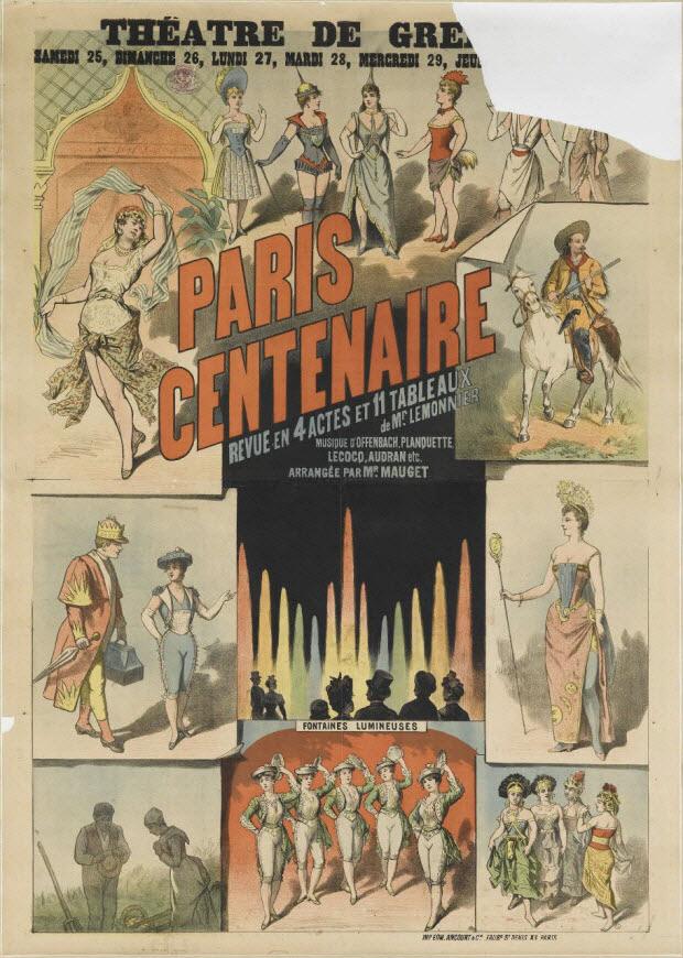 affiche - THEÂTRE DE GRE[échoppé] PARIS CENTENAIRE REVUE EN 4 ACTES ET 11 TABLEAUX de Mr. LEMONNIER