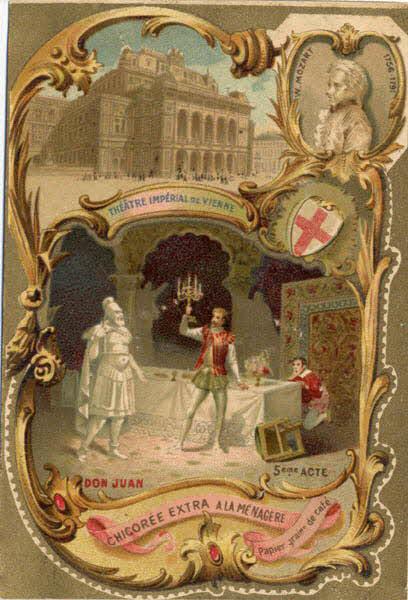carte réclame - W. MOZART 1756-1791 THEATRE IMPERIAL DE VIENNE DON JUAN 5éme ACTE