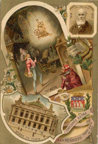 carte réclame - CH. GOUNOD 1818 1893 FAUST 1859 1ER ACTE OPERA DE PARIS