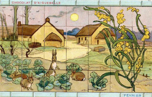 carte réclame - Février-Lapins