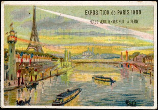 carte réclame - EXPOSITION DE PARIS 1900 FETES VENITIENNES SUR LA SEINE