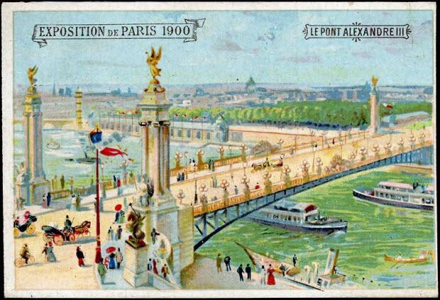 carte réclame - EXPOSITION DE PARIS 1900 LE PONT ALEXANDRE III