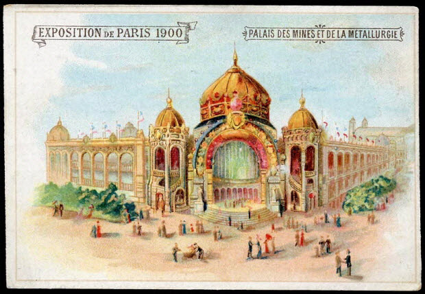 carte réclame - EXPOSITION DE PARIS 1900 PALAIS DES MINES ET DE LA METALLURGIE
