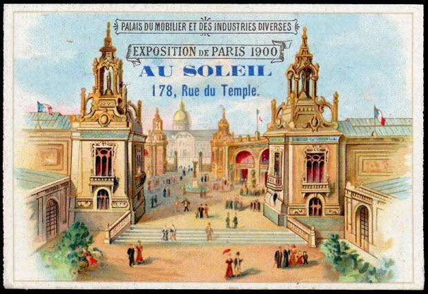 carte réclame - PALAIS DU MOBILIER ET DES INDUSTRIES DIVERSES EXPOSITION DE PARIS 1900