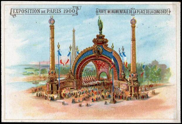 carte réclame - EXPOSITION DE PARIS 1900 PORTE MONUMENTALE DE LA PLACE DE LA CONCORDE