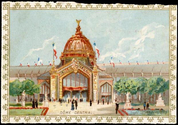 carte réclame - DÔME CENTRAL. Expon. Univelle. Paris 1889