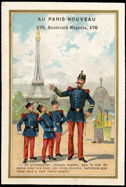 carte réclame - - Je présuppose, jeunes tapins, que la vue de cette tour n'a rien qui vous étonne, habitués que vous êtes à voir votre major.