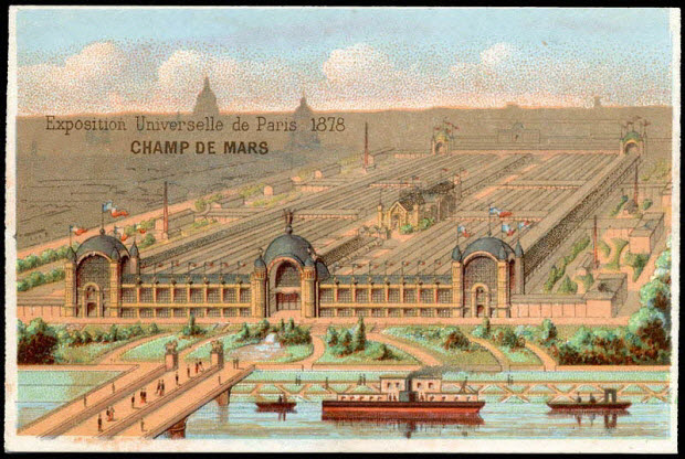 carte réclame - Exposition Universelle de Paris 1878 CHAMPS DE MARS