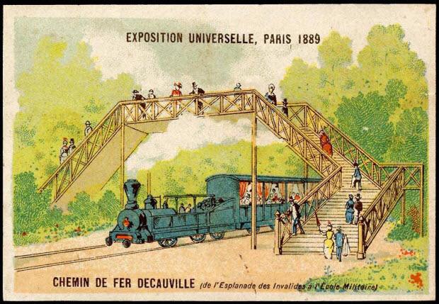 carte réclame - EXPOSITION UNIVERSELLE, PARIS 1889 CHEMIN DE FER DECAUVILLE (de l'Esplanade des Invalides à l'Ecole Militaire)