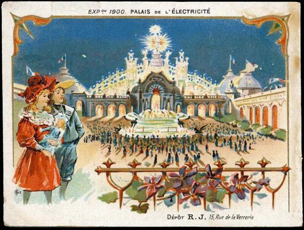 carte réclame - EXP.ON 1900. PALAIS DE L'ELECTRICITE