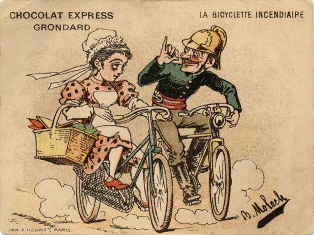 carte réclame - LA BICYCLETTE INCENDIAIRE