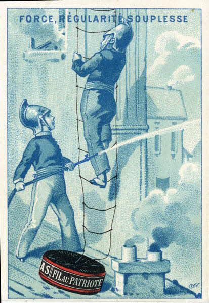 carte réclame - Pompiers pendant un incendie