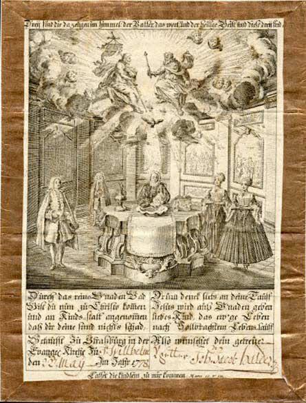 lettre de baptême - Dreÿ find die da zeügen im himmel