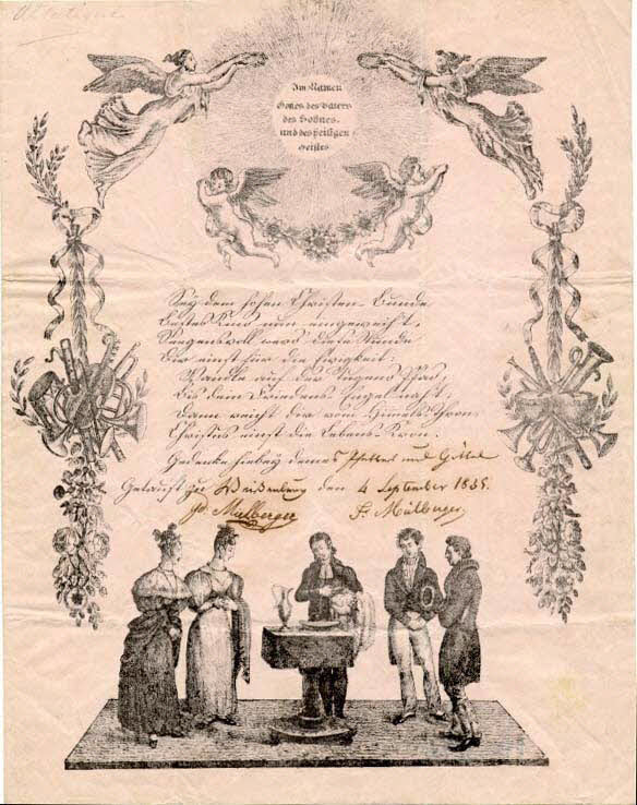 lettre de baptême - Im Namen Gottes, des Vaters des Sohnes und des heiligen Geiftes