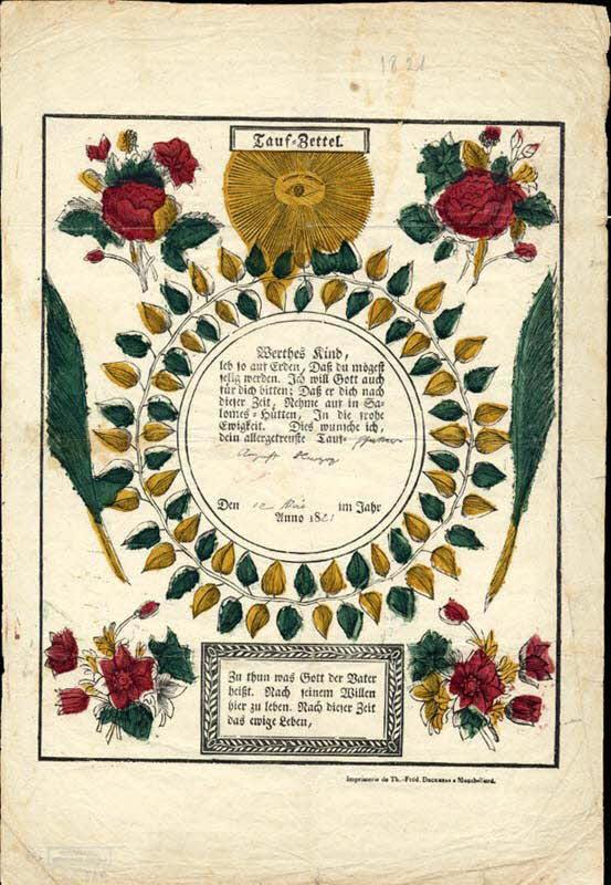 lettre de baptême - Tauf-Zettel