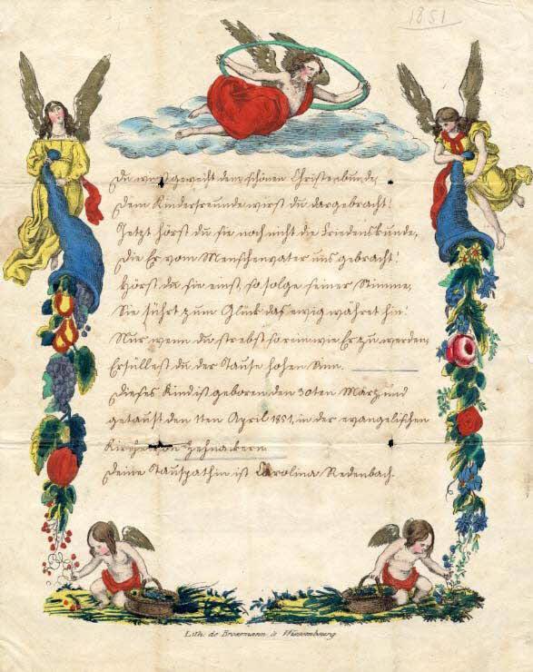 lettre de baptême - Du wirst geweiht dem schönen Christenbunde