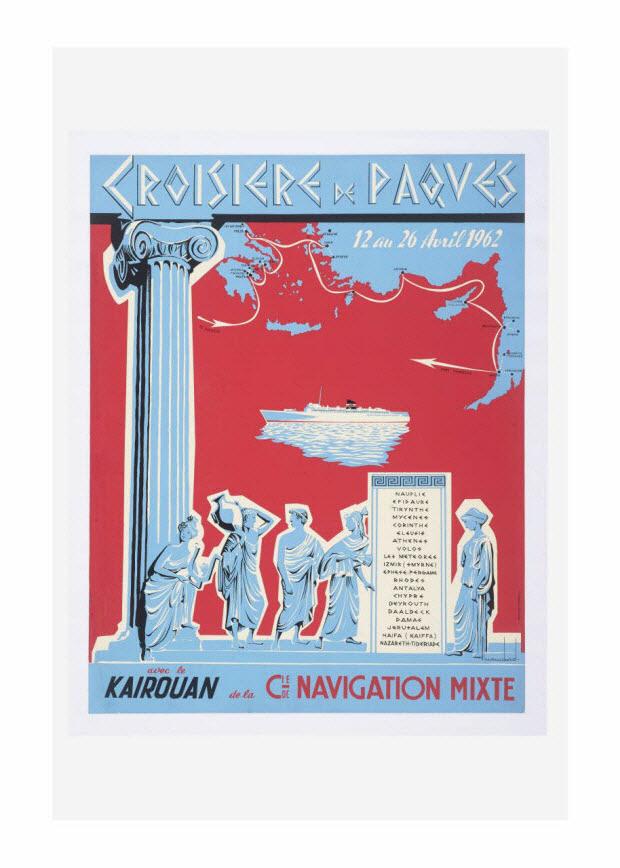 affiche - Croisière de Paques avec le Kairouan de la Compagnie de navigation mixte