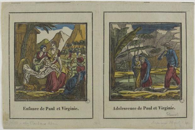 imagerie ancienne - Enfance de Paul et Virginie. Adolescence de Paul et Virginie.