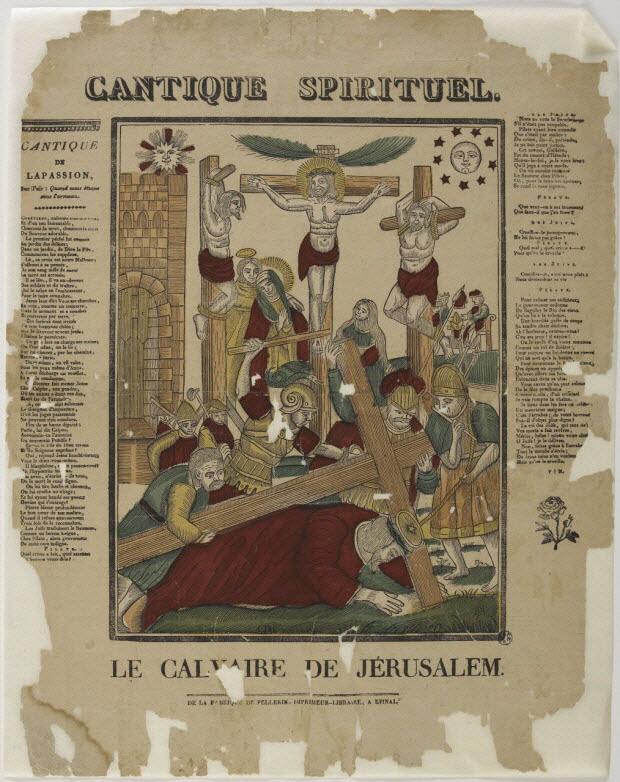 imagerie ancienne - CANTIQUE SPIRITUEL. LE CALVAIRE DE JERUSALEM.
