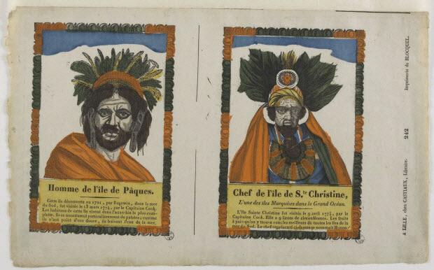 imagerie ancienne - Homme de l'île de Pâques.