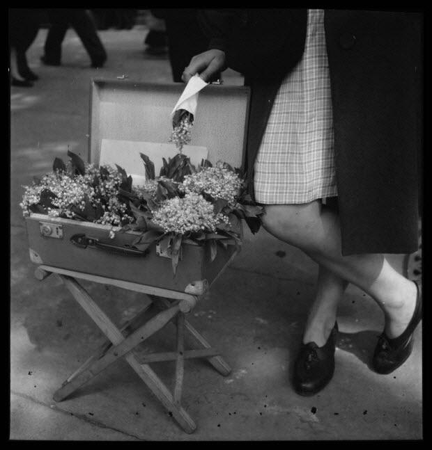 photographie - 18, boulevard Beaumarchais. Défilé du 1er mai 1946, fête du travail. De 14 heures à 19 heures. Eventaire, valise et pliant. Gros plan de brins de muguet