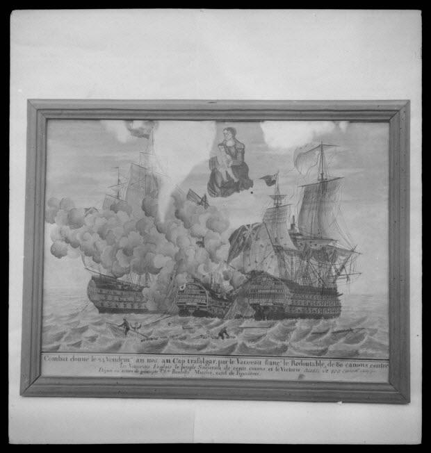 photographie - Chapelle Notre-Dame du Peuple. Ex-voto pour un combat naval. Peinture sur papier datant de 1805