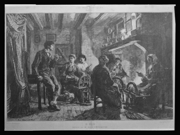 """photographie - Lithographie extraite du Monde Illustré (numéro 1453). """"La veillée"""". Léon Lhermitte (auteur)"""
